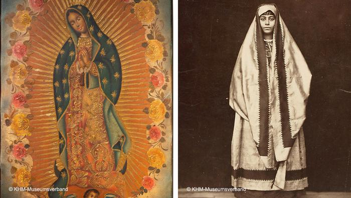 The vrigin of Guadalupe on the left shows the Virgin Mary praying while wearing a veil while on the right a photograph shows a woman draped in cloth that covers her head as she lloks straight at the camera