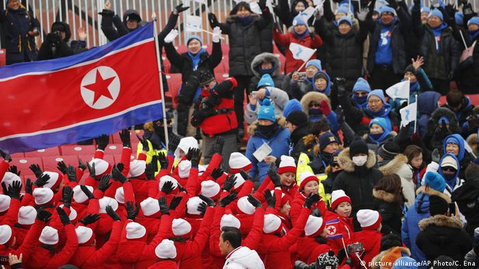 North Korea's delegation waves flags at the 2018 Winter Olympics in South Korea.