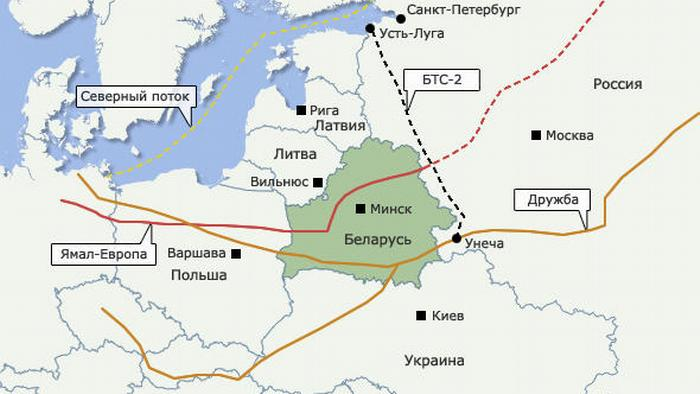 Нефтепроводы, проходящие через Беларусь