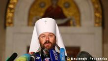 Metropolitan Hilarion, Chairman of external relations department of the Moscow Patriarchate and permanent member of the Holy Synod of the Russian Orthodox Church, speaks during a news conference in Minsk, Belarus October 15, 2018. REUTERS/Vasily Fedosenko