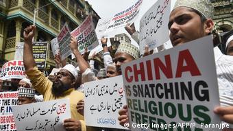 Indien Proteste in Unterstützung der chinesichen Uiguren (Getty Images/AFP/P. Paranjpe)