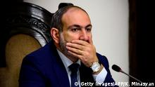 Armenian Prime Minister Nikol Pashinyan attends the Goverment's plenary session in Yerevan on October 16, 2018. - Armenia's reformist Prime Minister Nikol Pashinyan on October 16, 2018 announced his resignation on television, paving the way for snap parliamentary elections. (Photo by KAREN MINASYAN / AFP) (Photo credit should read KAREN MINASYAN/AFP/Getty Images)