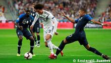 تیمهای ملی فوتبال فرانسه و آلمان در اولین دیدار گروهی این دوره از مسابقات جام ملتهای اروپا به مصاف هم میروند. این سیودومین پیکار دو تیم خواهد بود. در ۳۱ دیداری که تا کنون میان دو تیم انجام گرفته، آلمان ۱۰ بار و فرانسه ۱۴ بار پیروز شده است. هفت دیدار نیز با تساوی به پایان رسید. تصویری از آخرین دوئل میان دو تیم در اکتبر ۲۰۱۸ که با پیروزی ۲ بر یک فرانسه خاتمه یافت.
