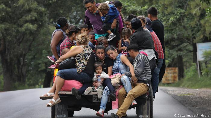 Honduran emigrants travel north in Guatemala