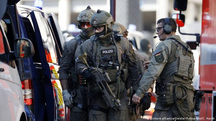 Special police commandos responding to a hostage-taking situation at Cologne central station