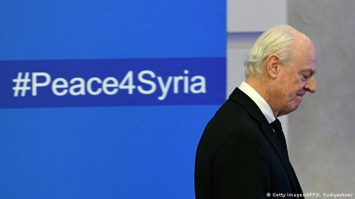 UN envoy for Syria Staffan de Mistura takes part in a round of Syrian peace talks in Astana, Kazakhstan