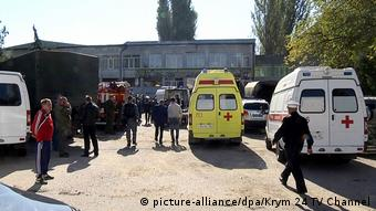 Ambulances near the building of the Kerch Polytechnic Vocational School after an explosion and shooting