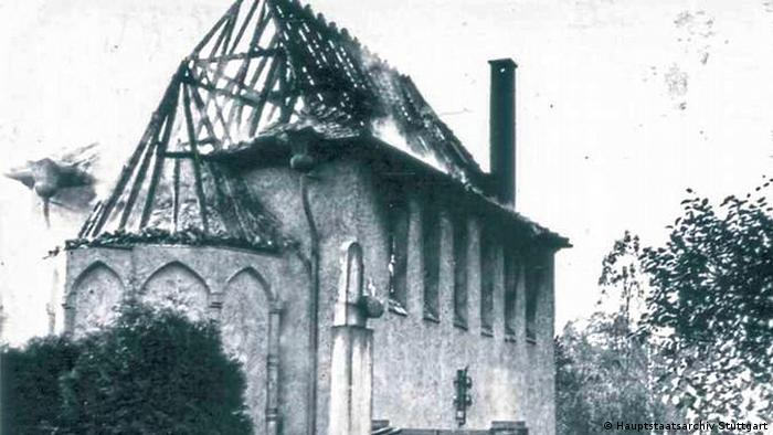 Горящая синагога в городке Гернсбах, 10 ноября 1938 года