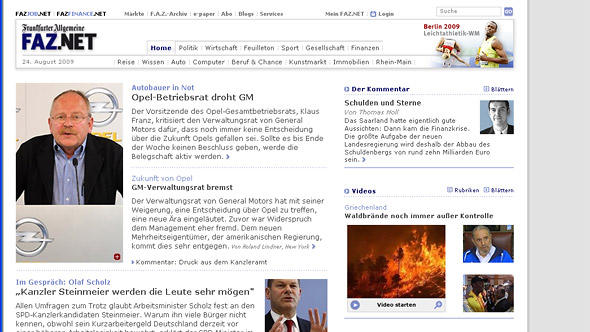 Screenshot FAZ Waldbrände in Griechenland