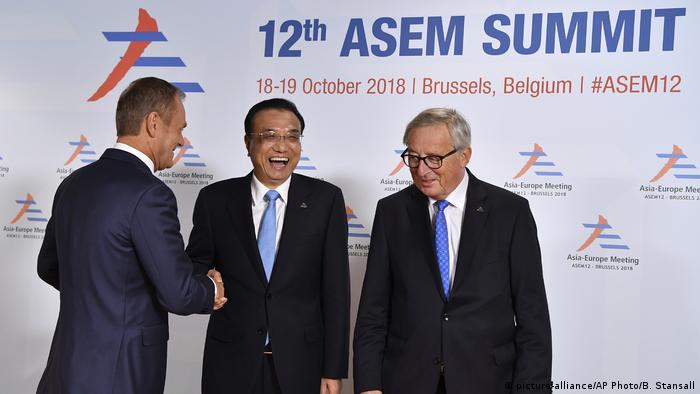 Donald Tusk, Li Keqiang and Claude Juncker at the EU-Asia summit