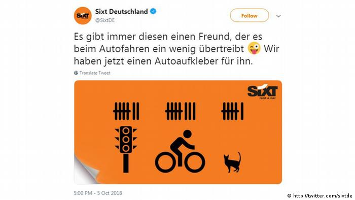 Screenshot Twitter Werbung Sixt Deutschland