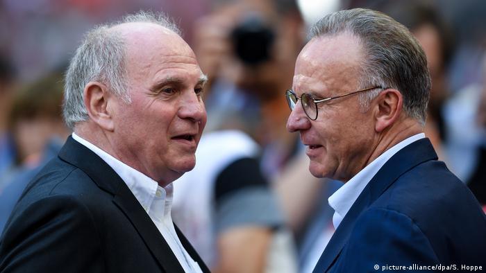 Bayern Munich's Uli Hoeness and Karl-Heinz Rummenigge