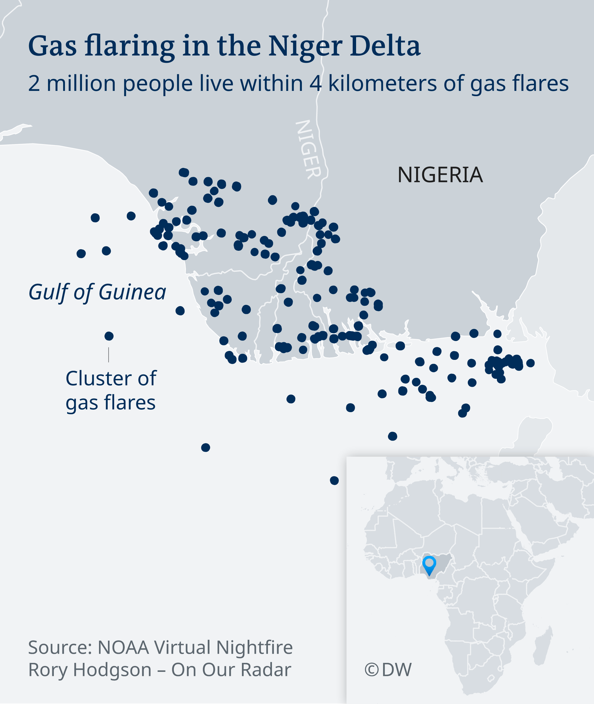 Map of gas flaring in the Niger Delta