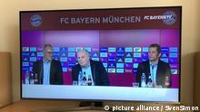 Pressekonferenz des Fuehrungstrios des FC Bayern live im TV, v.li:Karl Heinz RUMMENIGGE, (Vorstandsvorsitzender),Uli HOENESS (Höness,Praesident Bayern Muenchen) und Hasan SALIHAMIDZIC (Sportdirektor Bayern Muenchen) geben eine gemeinsame Pressekonferenz und kritisieren die negative Berichterstattung der Medien,Medienschelte. Fussball,FC Bayern Muenchen | Verwendung weltweit