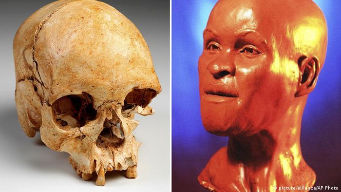Fotos mostram crânio antes do incêndio, e a reconstrução do rosto de Luzia com base nos ossos encontrados pelos cientistas