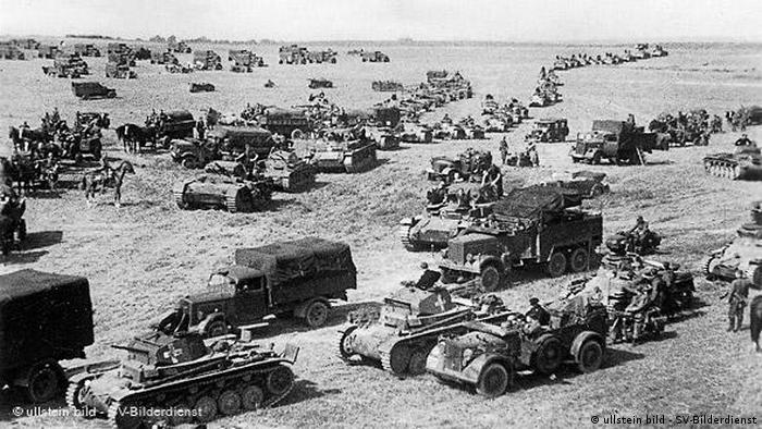 German tanks and military transport during the German invasion of Poland during WWII