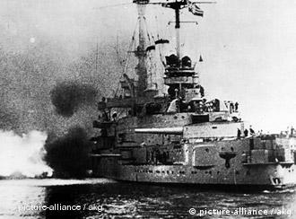 The German ship Schleswig-Holstein attacked the Westerplatte peninsula on Sept. 1, 1939; historical photograph
