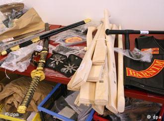various weapons, such as samurai swords, pistols, clubs