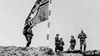 German soldiers raising the flag on the Westerplatte