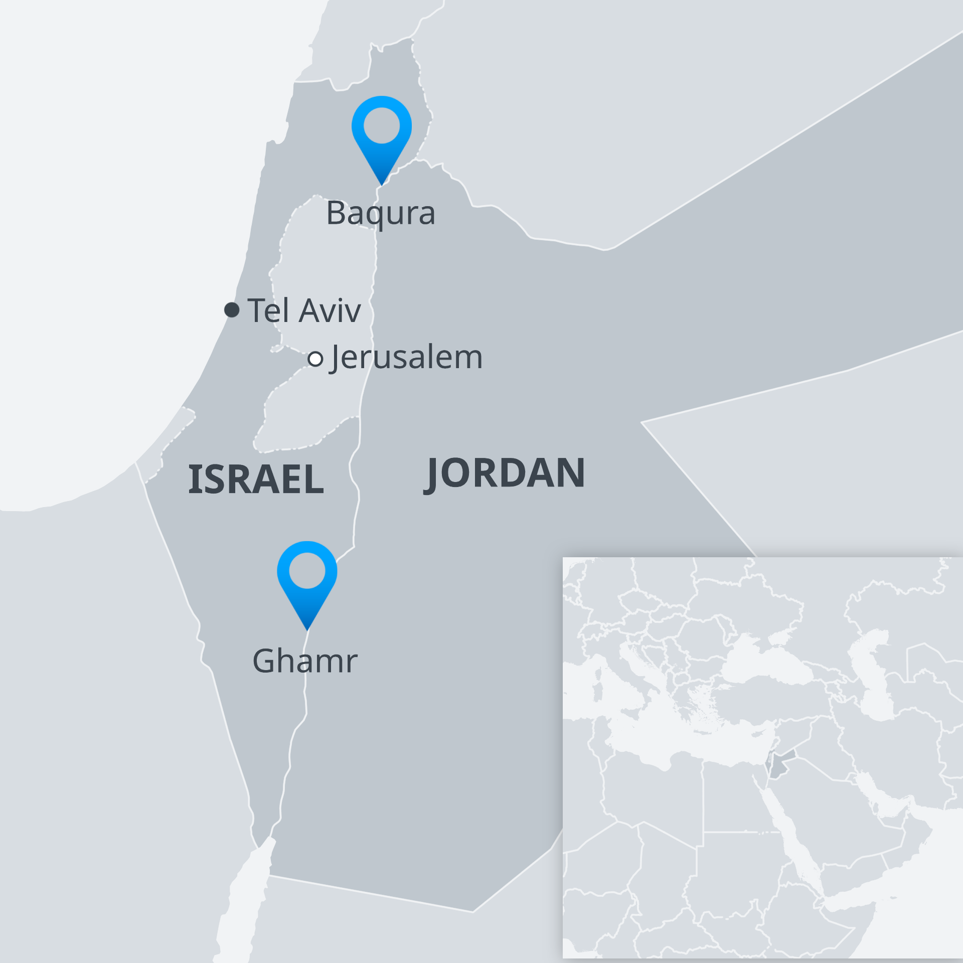 Karte Israel Jordanien EN
