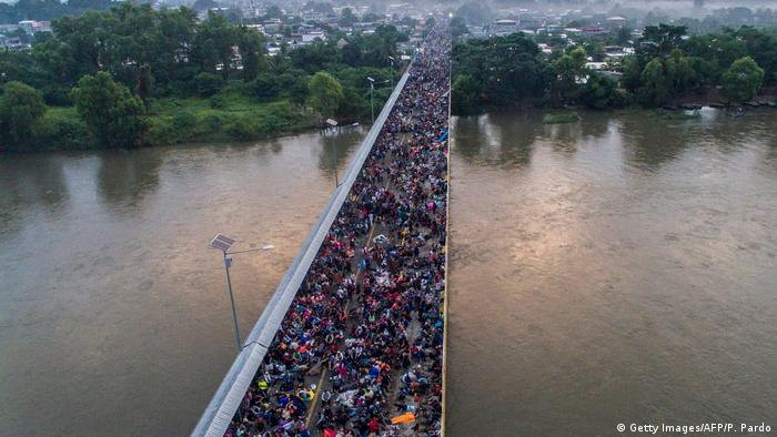 Aerial view of a Honduran migrant caravan heading to the US