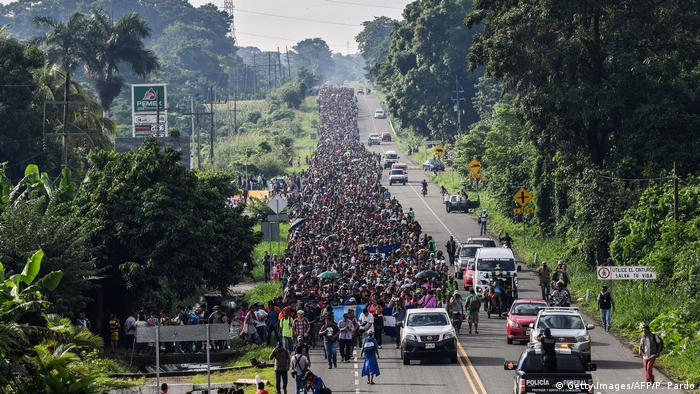 The caravan is made up of thousands of men, women and children