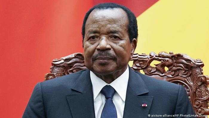 Photo of Cameroon's President Paul Biya sitting on an ornate chair