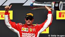 AUSTIN, TX - OCTOBER 21: Race winner Kimi Raikkonen of Finland and Ferrari celebrates on the podium during the United States Formula One Grand Prix at Circuit of The Americas on October 21, 2018 in Austin, United States. (Photo by Mark Thompson/Getty Images)