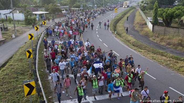 Migrants making their way north from the Mexico-Guatemala border