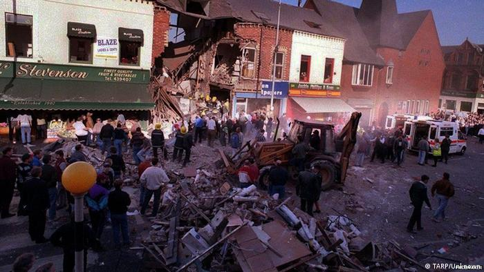 A bombed out building in Northern Ireland's Shankill Road 1993