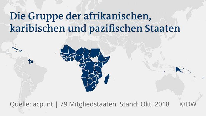 Eine Karte mit den Mitgliedsländern der AKP-Staatengruppe