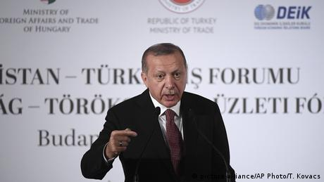 Turkish President Recep Tayyip Erdogan addresses a business forum during his visit to Budapest, Hungary.