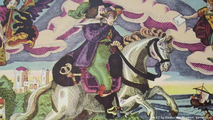 Мирный гонец из Мюнстера. Гравюра 1648 года