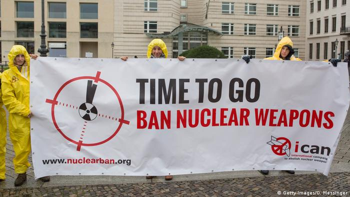 International campaign to abolish Nuclear Weapons (ICAN) activists protest in Berlin, Germany (Getty Images/O. Messinger)