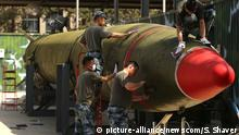 29.04.2017 Chinese soldiers touch-up a decommissioned Dongfeng 2 medium range ballistic missile on display at the Chinese Military Museum of the People's Revolution in Beijing on April 29, 2017. Chinese President Xi Jinping told U.S. President Donald Trump China is strongly against any action that would violate UN Security Council resolutions and added that the North Korean nuclear issue can be solved if all parties take responsibility and work together, according to state media. Photo by Stephen Shaver/UPI Photo via Newscom picture alliance |