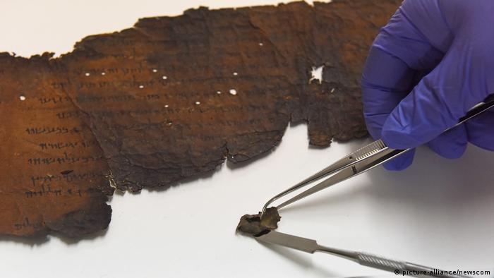 Parte del Gran Rollo de Isaías, encontrado en las cuevas de Qumram.