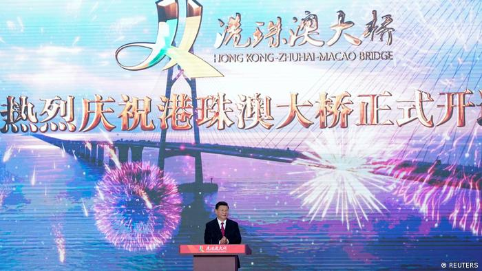 Chinese President Xi Jinping attends the opening ceremony of the Hong Kong-Zhuhai-Macau bridge