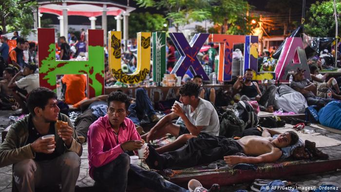Migranten aus Mittelamerika auf dem Weg in die USA in Huixtla, Mexiko
