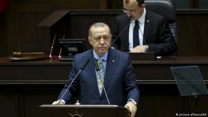 Presidente turco Recep Tayyip Erdogan durante pronunciamento ao Parlamento sobre o caso Khashoggi