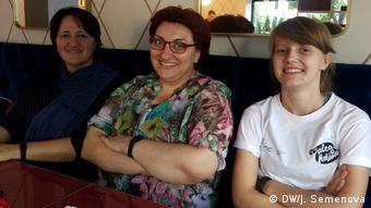 Moldovan activists Viorica Mocanu, Mariana Turcan and Ruxanda Tabuncic