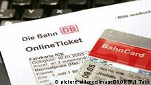 DEU, Bundesrepublik Deutschland : Online Ticket der Deutschen Bahn, DB. Fahrkarte, buchbar ueber das Internet, in Verbindung mit einer Kreditkarte und/oder oder Bahncard.   Verwendung weltweit, Keine Weitergabe an Wiederverkäufer.