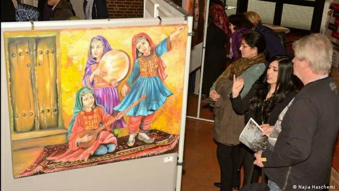 Malerei einer afghanischen Migrantin in Deutschland (Najia Haschemi )