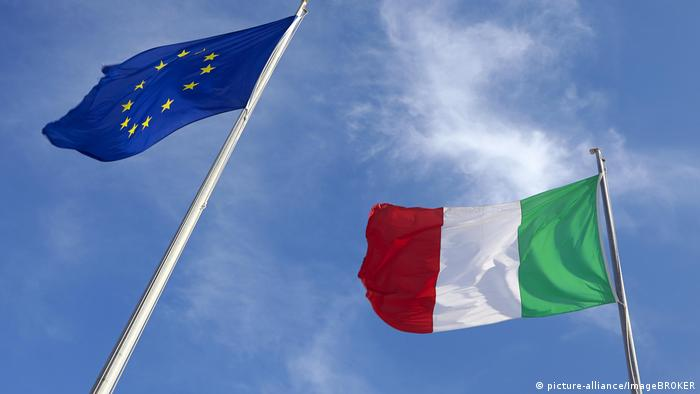 EU, Italian flags