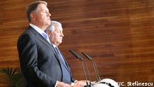 Der rumänische Präsident Klaus Iohannis im Europaparlament mit EP-Präsident Antonio Tajani