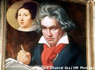 A collage of the 1819 portrait of Ludwig van Beethoven by Josef Stieker and and 1814 portrait of Elisabeth Roeckel
