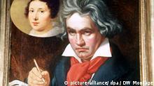 Das undatierte Archivbild zeigt das 1819 entstandene Gemälde von Josef Stieker mit einem Porträt von Ludwig van Beethoven beim Komponieren der Messe Missa solemnis, D-Dur, op.123. Vor 175 Jahren, am 26. März 1827, ist Beethoven in Wien gestorben. Nach Angaben des Musikkonzerns EMT (Köln) zählt Beethoven auch heute noch zu den Top 5 unter den klassischen Komponisten. Der Komponist führte die Klaviersonate ebenso wie die Sinfonie zu ihrem Gattungshöhepunkt. Mit seiner Kanonisierung zum Klassiker im 19. Jahrhundert wurden Beethovens Werke zum zentralen Bestandteil des Konzertrepertoires und Vorbild für viele nachfolgende Komponisten. dpa (zu dpa-Themenpaket zum 175. Todestag von Beethoven vom 19.03.2002)