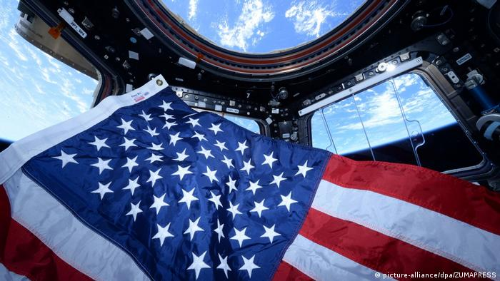 An American flag inside the ISS