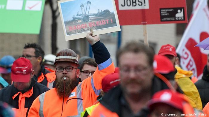 Mine workers march in Bergheim