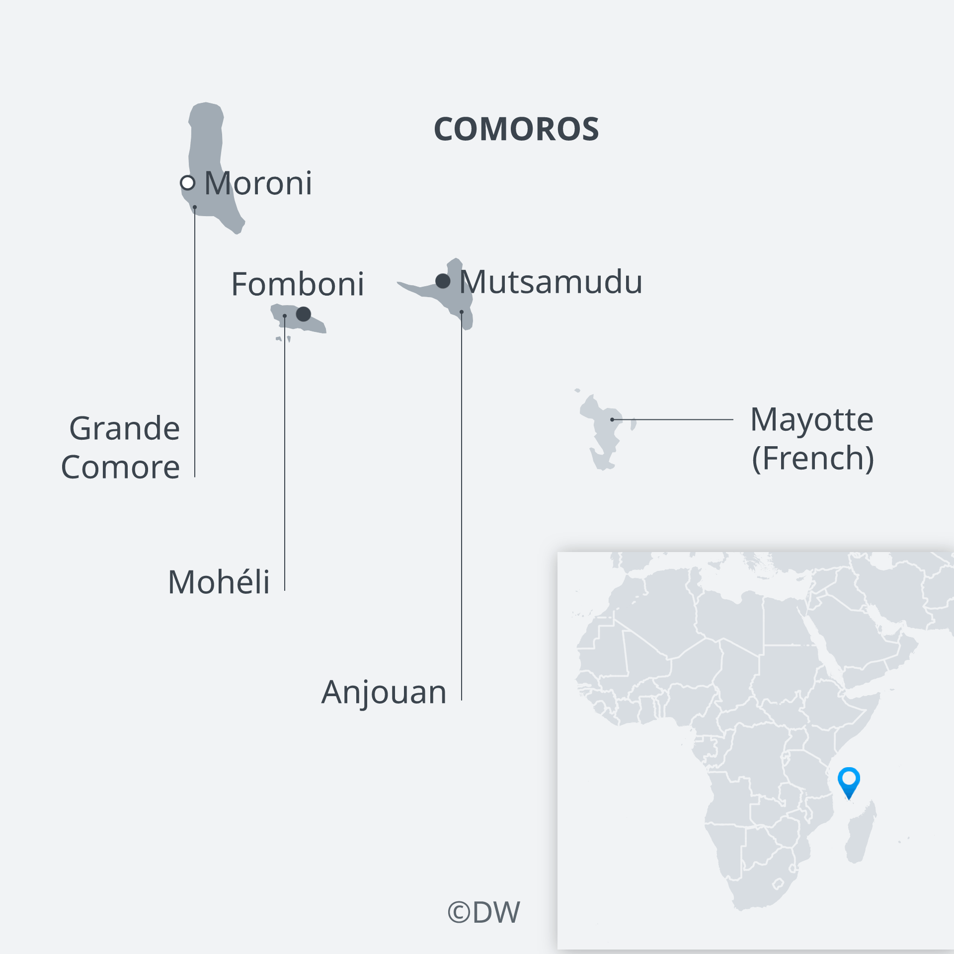 Karte Komoren EN