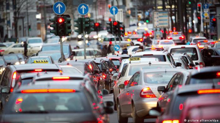 Car traffic in Dusseldorf, Germany